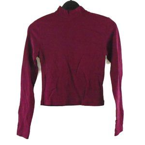 Ambiance Mock Neck Shirt Girls S Burgundy Red